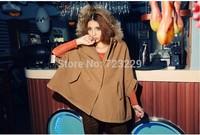 2015 New Fashion Autumn Winter Europe Women's Raccoon Fur Collar Cloak Double-Breasted Cashmere Overc Coat Shawl Woolen Coat