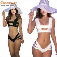 2015 Black white women sexy bandage bikini set push-up padded bra swimsuit  Wireless Suit Swimwear
