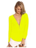 Fashion mini sexy chiffon V-neck long-sleeved Shirt high quality women's clothing