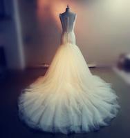 2015 Real Picture Vestido De Noiva Robe De Mariage Lace Top Dress Bride Court Train Sexy Mermaid Wedding Dresses Bodas casamento