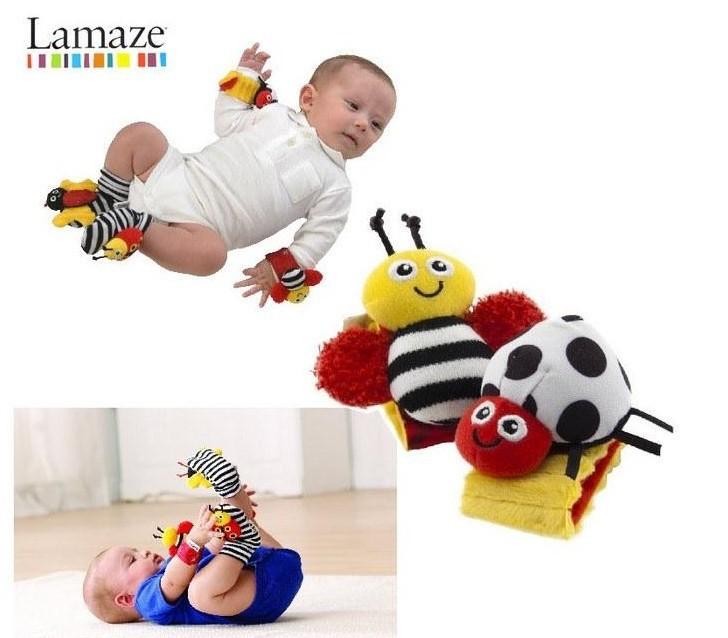 O envio gratuito de 4 pçs/lote brinquedos do chocalho do bebê Lamaze Bug jardim Rattle Wrist e meias pé(China (Mainland))
