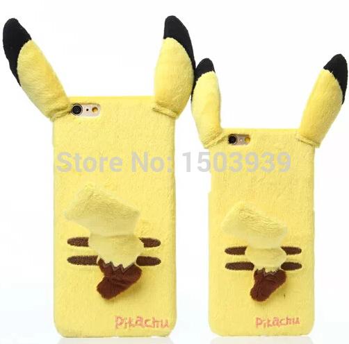 Cartoon Cute Pocket Monsters Plush Pikachu With Kawaii Tail Pokemon Funny Cittib Fabric Cover For iPhone 5 5S 6 6 Plus(China (Mainland))