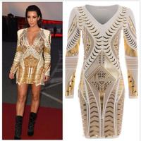 Women fashion 3d bronzing printing Slim deep V dress sexy long sleeve dresses