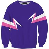 Sws0108  New Arrivai Europe Hot Digital Printing Purple Lightning O-Neck Pullover Hoodies Sweatshirts 3D