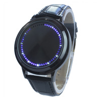 Ten Pieces Fashion Abyss Inspired Blue Light LED Touch Screen Leather Men's Boy Male Black Binary Watches Free Shipping New
