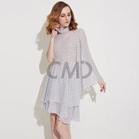 2015 New Fashion Sexy One-Shoulder Chiffon Cute Dot Print Dress Summer Dress Plus Size Beach Dress party dresses Free Shipping