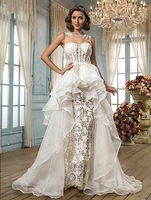 LACE sexy see though organza layers   Wedding Bridal Dresses