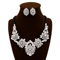 Fashion Jewelry Beautiful Crystal Jewelry Set Necklace and Aretes Earrings For Women Bijouterias high Quality Joyas DIS1205041