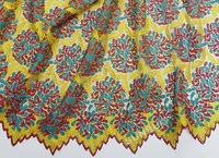 2015 new Swiss cord lace African wedding guipure lace fabric 5 yards/pc 9104 with beads yellow turquoise fushia
