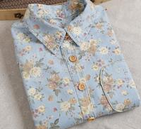 Vintage water wash rose lily flower print denim long sleeve shirt blouse