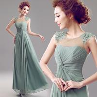 Perspectivity blue green flower evening dress banquet dinner formal dress A2295#