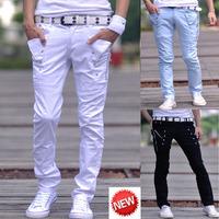 Size 27-34 White Teenage Fashion Personality Skinny Pants Harem Casual Pantalones Hombre Men's Clothing Cotton Slim Men Joggers