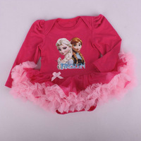 3pcs/lot 2015 New Design Clothing Baby Infant Romper baby Girls Elsa's & Anna's rompers 100% Cotton Girl King & Queen dress