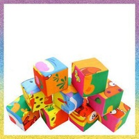 [baby intelligence toys]Free Shipping 2pcs/lot B1183 Building blocks box puzzle type cloth Baby educational toys giant 9cm