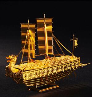 2015 New DIY 3D Metal Models Works,Metallic Laser Cut Models/Assemble Miniature Metallic Nano Puzzle-Geobukseon(China (Mainland))