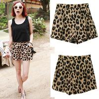 2015 New Women summer shorts classic european style leopard print casual beach shorts women,SB508