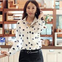 2015 New Style Sweet Fashion Women's Shirt Star Printed Chiffon Shirt Spring Autumn Long-Sleeve Casual Blouse Blusas Femininas