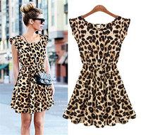ladies 2015 Elegant Classical Vintage Sleeveless Summer Leopard Casual Mini Dress Women One Piece Leopard Print Casual Sundress