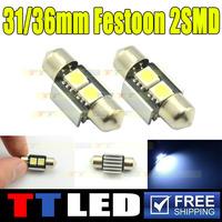 100X white Canbus 12V 31mm 2 SMD 5050 LED Car Auto Light Bulbs LED License Plate Light LED Festoon Light Bulbs DC12V Light #TK15