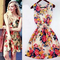 Women Dress Spring Summer 2015 Floral Print Chiffon Vestido Plus Size Bohemian Vintage Causal Sleeveless Vestidos Femininos