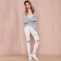 Casual Knee Hole Back Pockets Women Pants Zipper White Full Length Pencil Pants Female For Women 2015 New Summer Free Shipping