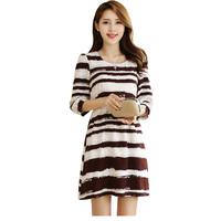 FS-3023 Brand New 2015 Spring Summer Women's Dress Plus Size Striped dresses for women