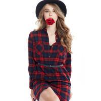 Womens Summer Dresses 2015 Summer Fashion Cotton 100% Plaid Shirt 50s Dresses Tops Mori Girl Blouses ,BL-673
