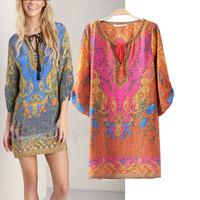 Vintage Floral Women Dress 2015 Hot Sale Fashion Ladies' Print Vestidos Three quarter Sleeve Causal Brand Designer Summer Dress