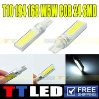 Free Shippingl!!!100pcs/lot T10 12V DC 194 168 W5W COB 24 SMD High Power Super Bright Width Fog Lamps #TB118