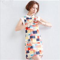 New summer Vestido chiffon geometric print casual turn-down collar dress 20707
