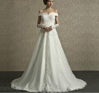 2015Wedding Dresses Lace Appliques Vestido De Noiva Dress Bride Off the Shoulder Wedding Dress Bodas Casamento Robe De Mariage