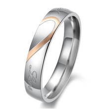 Best Price Stainless Steel Real Love Heart Couples Promise Engagement Ring Wedding Ring