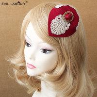 Princess lolita hat British vintage small hat headdress party dress hat hairpin Burgundy wine red hat hair accessories FJ - 109