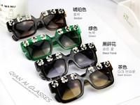 2015 New Fashion floral Mirror Sunglasses Aviator Sunglasses Vintage Eyeglasses glasses Women brand designer Sunglasses