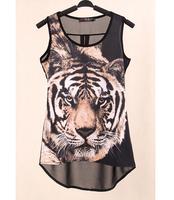 New 2015 Fashion European and American women's Tiger shirt T-shirt  tops blouses summer shirt