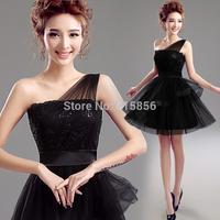 2015 Black one shoulder short design dinner party banquet evening dress A7586#