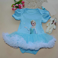 2015 New Summer Cartoon Dress Baby Infant Romper Baby Girls Princess Elsa rompers 100% Cotton Girls One-Piece Outfit 6pcs/lot