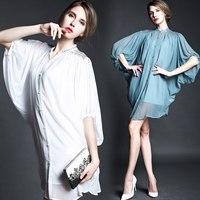 Free ship A4596 2015  royal sleeve beading warfactory batwing sleeve silk one-piece dress ladies casual dress wholesale va1908