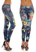 2015 New Women Sexy Tattoo Jean Look Legging Sport Leggins Punk Fitness American Apparel Jeans Woman Pants