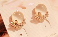 High quality 2015 New Fashion women's earrings Bright temperament crystal bow opal earrings Stud Earrings