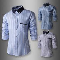2015 New Arrive Spring/Autumn Men Business Casual shirt Korean Fashion striped Long Sleeve Slim dress Shirts men 3 colors