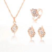 Min. order is 9usd(can mix) Free shipping New 18k Yellow Gold Filled Women's/Girl's CZ Rhinestone Wedding Jewelry Sets