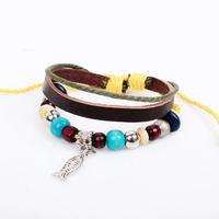 Retail-1pc/lot fish style leather fashion beaded bracelet lady fashion jewelry