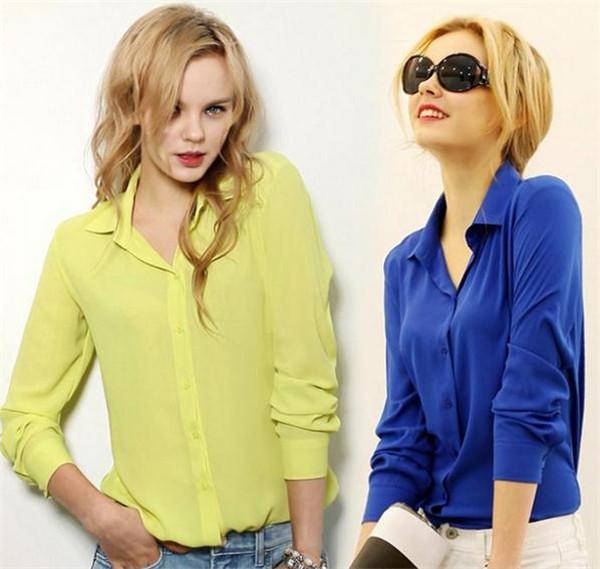 Дешевые новый свободного покроя платье 2015 женщин рубашка блузка весна осень шифон топы элегантный все матч пр отложным воротником твердых Blusas Femininas