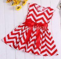 Hot sale 2015 new summer chevron maxi adorable cotton chevron Halter dress for summer girl Beach rainbow bow dress free ship