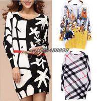 2015 Spring Autumn women's print jumper pullover long thick sweater dress Mother Gift tricotado casaquinho feminina