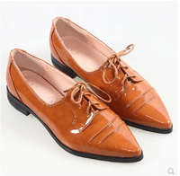 Free shipping patent leather lace-up oxford shoes Bullock pointed women's shoes