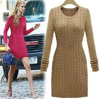 ladies Fashion vestidos femininos Casual Winter Women Dress Slim OL Style Windproof Solid Full Sleeve O Neck Knitted Clothing