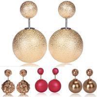 LR176 2015 New Design Wrinkle Korea Earrings Women Pearl Wrinkle Korean Earrings For Women Free Shipping