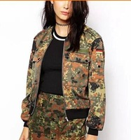 Womens Vintage Fashion Camouflage Print Double Pockets Deco Long Sleeve Casual Jacket Jackets Outwear
